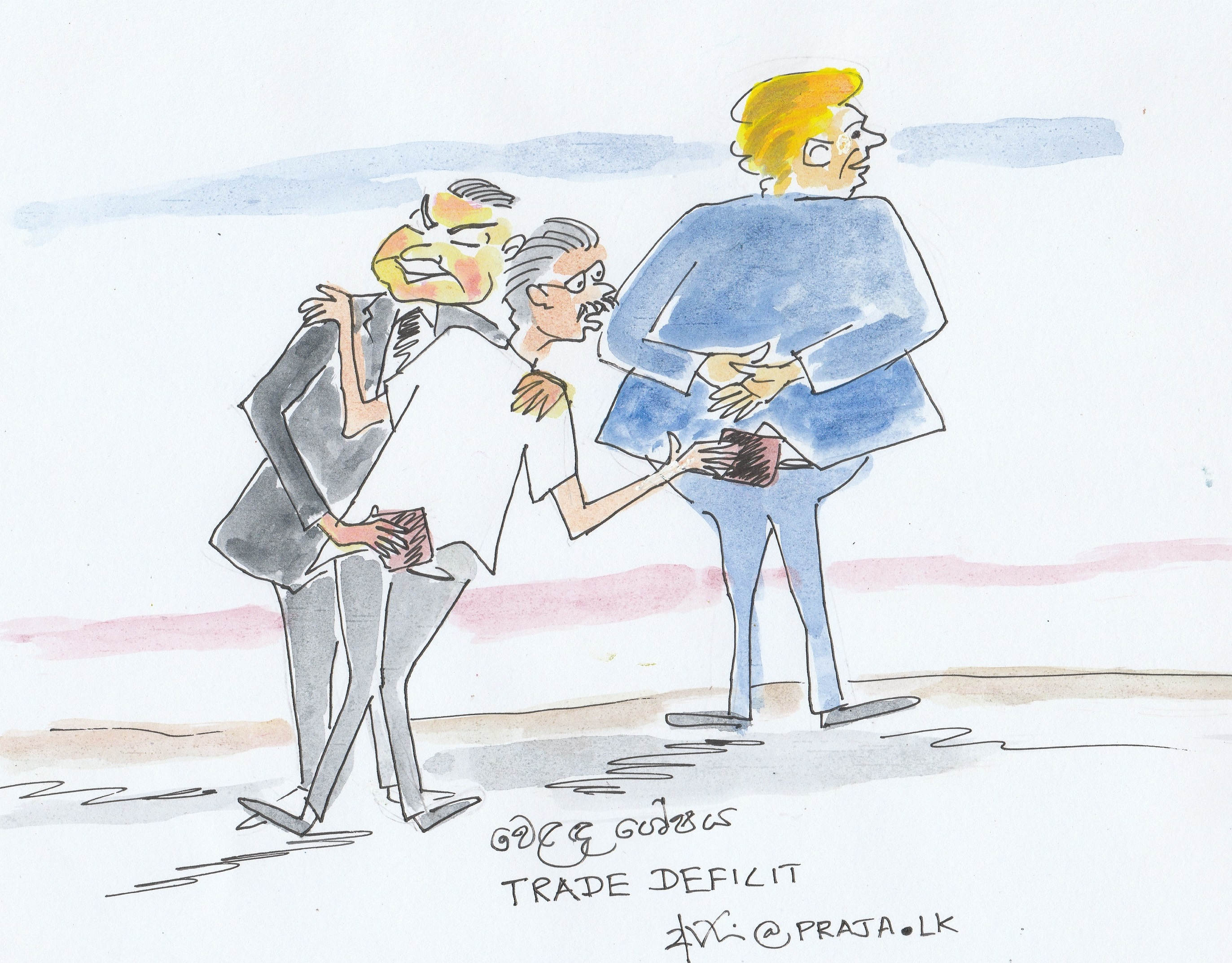 Trade deficits of Sri Lanka with China and US - cartoon